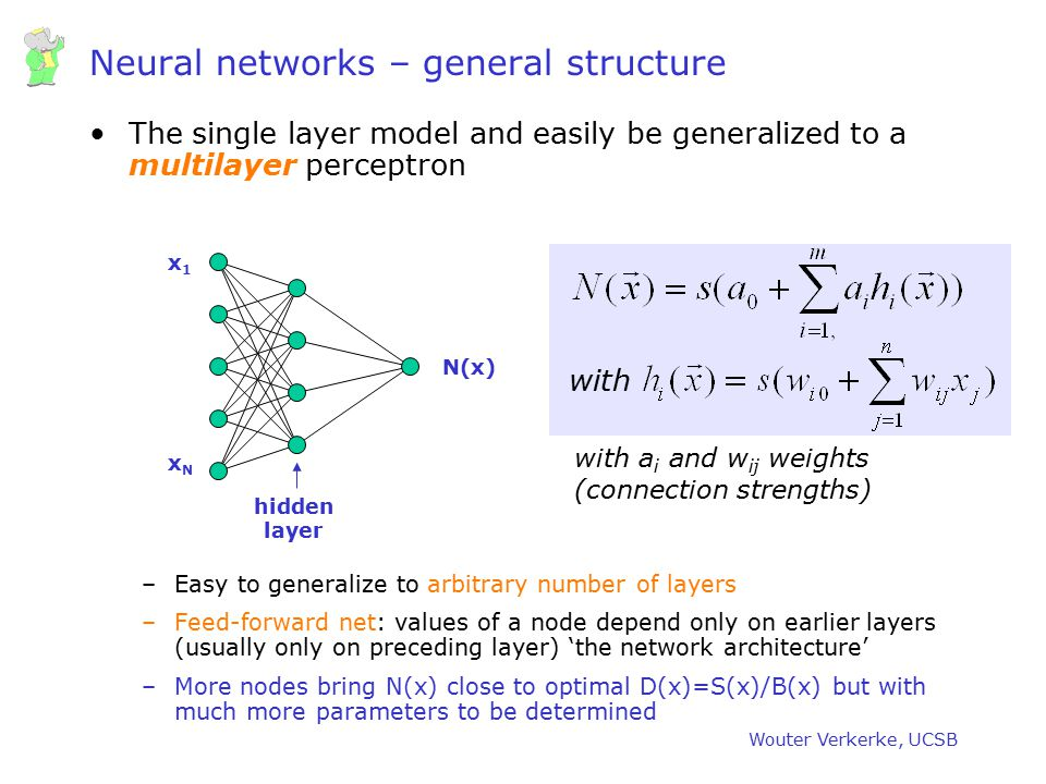 Wouter Verkerke, UCSB Neural networks – general structure The single layer model and easily be generalized to a multilayer perceptron –Easy to general