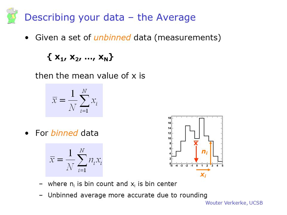 Wouter Verkerke, UCSB Significance – Gaussian sampling distribution Sampling distribution = Distribution you obtain if you repeat experiment many times Assumed distribution with Gaussian error interpretation 31.73% outside 1 4.57% outside 2 0.27% outside 3 Gaussian integral fractions Actual sampling distribution for hypothetical low N measurement Actual integral fractions 1.6% 32.23% within 1 4.8% 4.35% within 2 33% 0.18% within 3 Relative Discrepancy Tails of sampling distribution converge more slowly to Gaussian