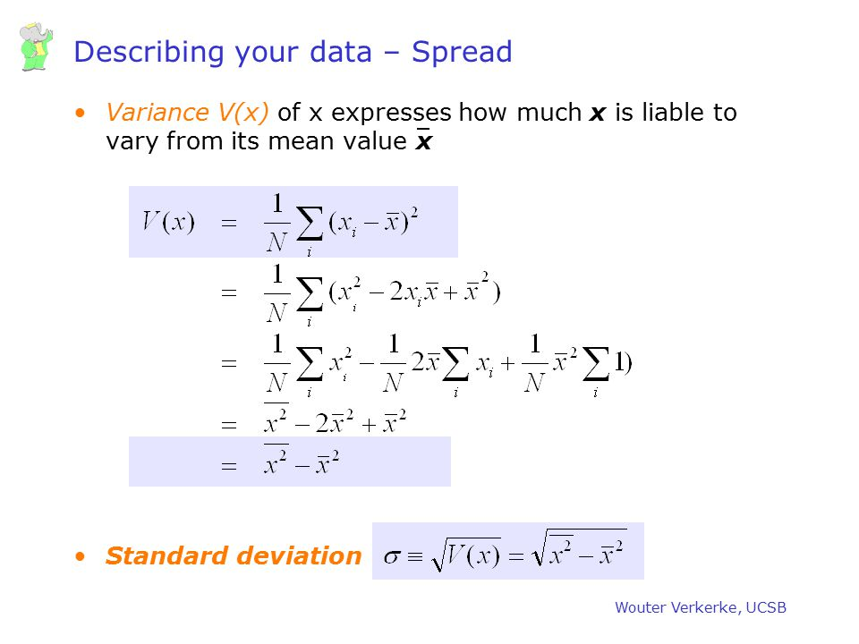 Wouter Verkerke, UCSB Different definitions of the Standard Deviation Presumably our data was taken from a parent distributions which has mean  and S.F.