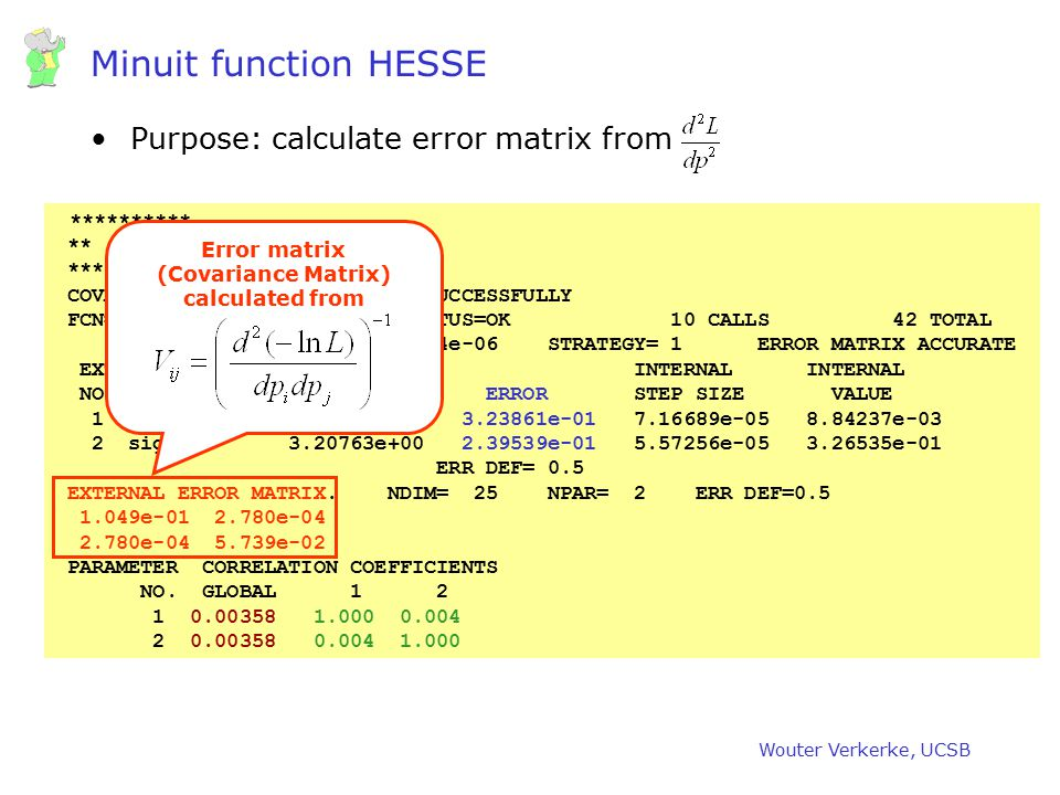 Wouter Verkerke, UCSB Minuit function HESSE Purpose: calculate error matrix from ********** ** 18 **HESSE 1000 ********** COVARIANCE MATRIX CALCULATED