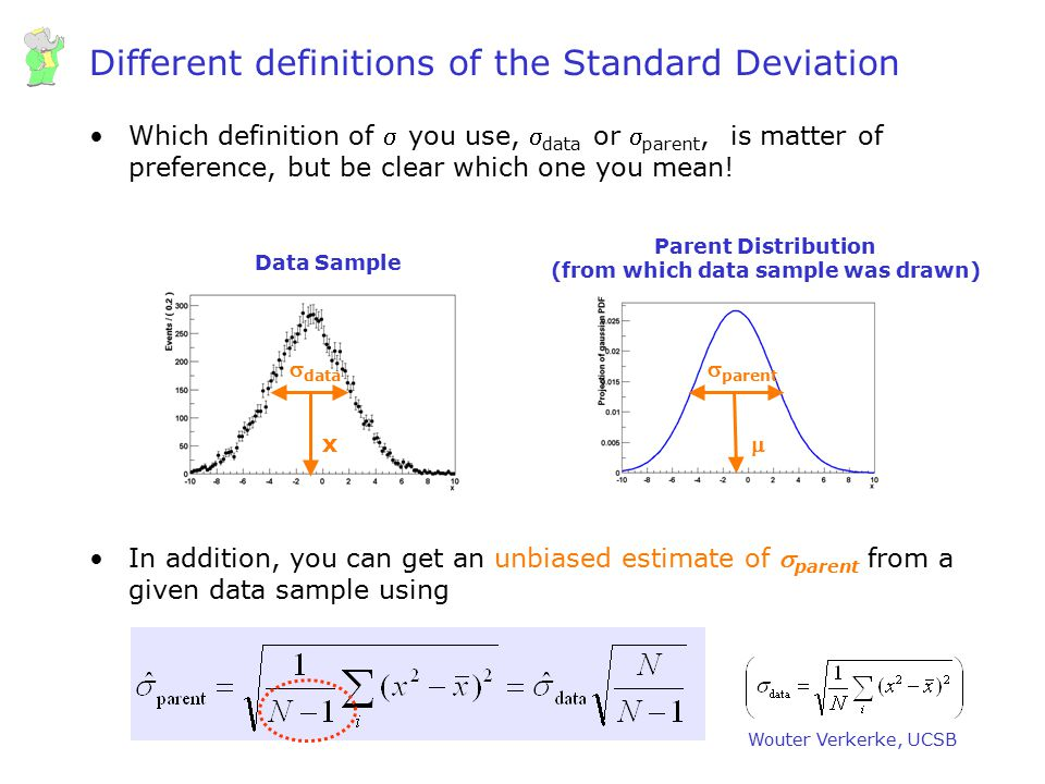 Wouter Verkerke, UCSB Errors Doing an experiment  making measurements Measurements not perfect  imperfection quantified in resolution or error Common language to quote errors –Gaussian standard deviation = sqrt(V(x)) –68% probability that true values is within quoted errors [NB: 68% interpretation relies strictly on Gaussian sampling distribution, which is not always the case, more on this later] Errors are usually Gaussian if they quantify a result that is based on many independent measurements