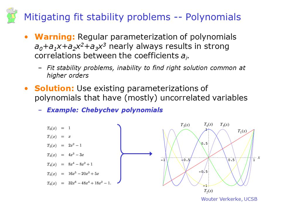 Wouter Verkerke, UCSB Mitigating fit stability problems -- Polynomials Warning: Regular parameterization of polynomials a 0 +a 1 x+a 2 x 2 +a 3 x 3 ne