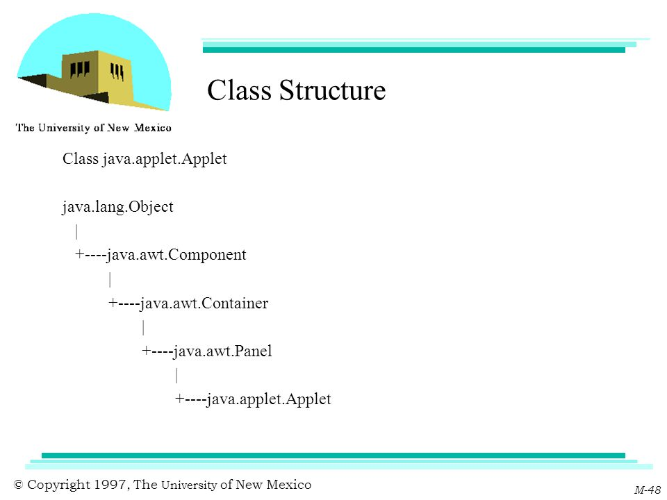 © Copyright 1997, The University of New Mexico M-48 Class Structure Class java.applet.Applet java.lang.Object | +----java.awt.Component | +----java.aw