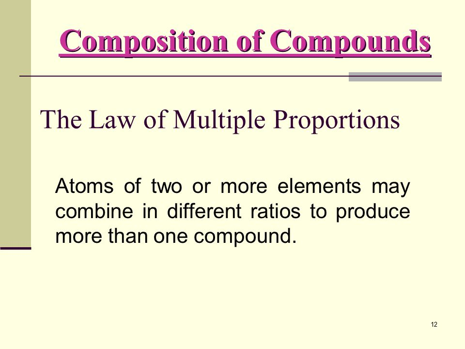 12 The Law of Multiple Proportions Atoms of two or more elements may combine in different ratios to produce more than one compound. Composition of Com