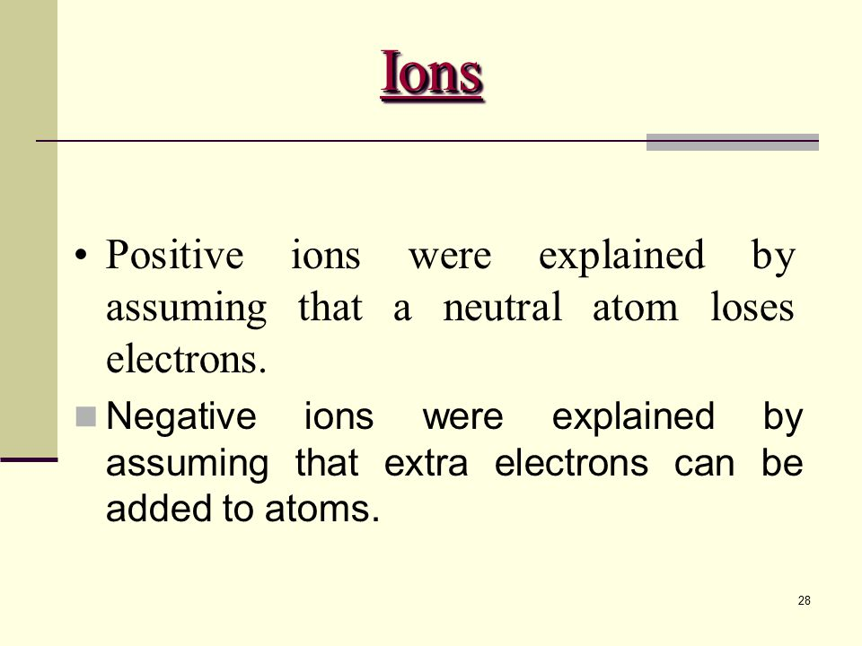 28 Positive ions were explained by assuming that a neutral atom loses electrons.