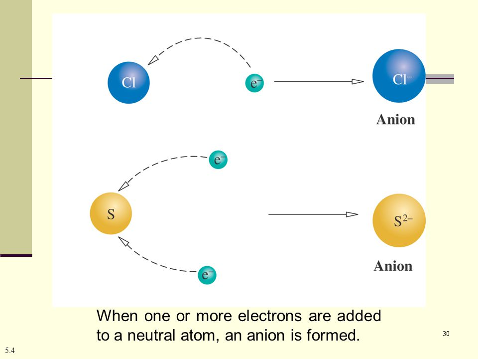 30 5.4 When one or more electrons are added to a neutral atom, an anion is formed.