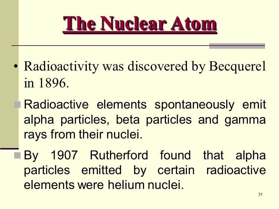 31 Radioactivity was discovered by Becquerel in 1896. Radioactive elements spontaneously emit alpha particles, beta particles and gamma rays from thei