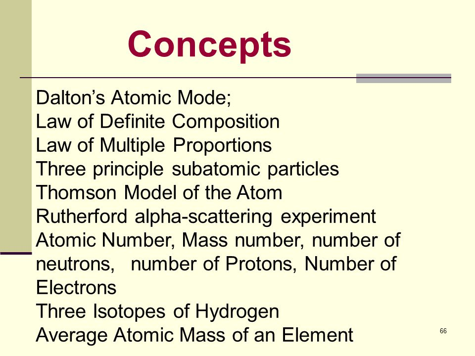 66 Concepts Dalton's Atomic Mode; Law of Definite Composition Law of Multiple Proportions Three principle subatomic particles Thomson Model of the Atom Rutherford alpha-scattering experiment Atomic Number, Mass number, number of neutrons, number of Protons, Number of Electrons Three Isotopes of Hydrogen Average Atomic Mass of an Element