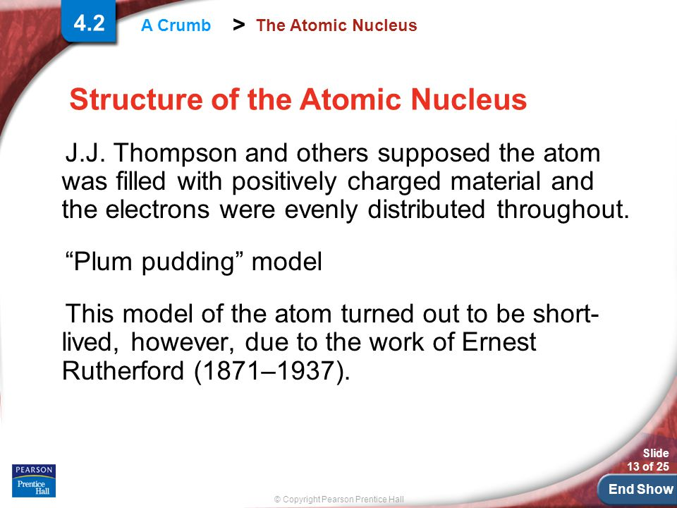 End Show Slide 13 of 25 © Copyright Pearson Prentice Hall > A Crumb The Atomic Nucleus J.J.