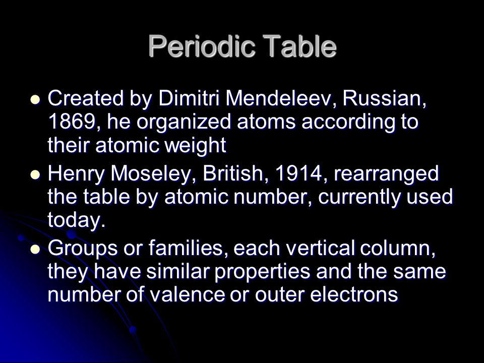 Periodic Table Created by Dimitri Mendeleev, Russian, 1869, he organized atoms according to their atomic weight Created by Dimitri Mendeleev, Russian, 1869, he organized atoms according to their atomic weight Henry Moseley, British, 1914, rearranged the table by atomic number, currently used today.