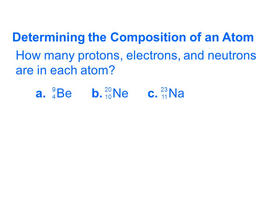 Determining the Composition of an Atom How many protons, electrons, and neutrons are in each atom? a.Beb.Nec.Na 9494 20 10 23 11