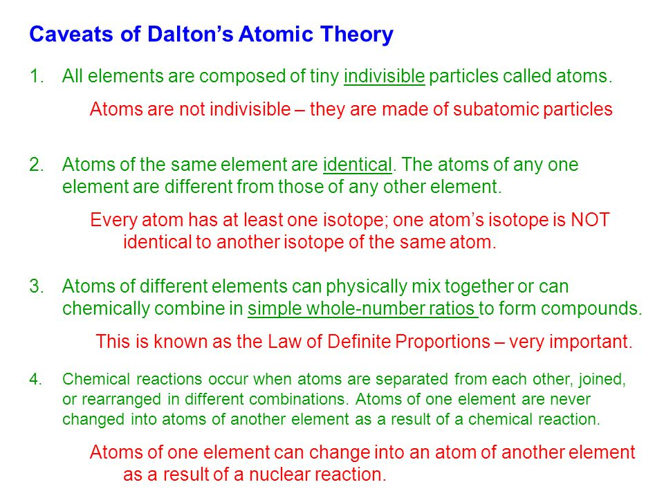 Caveats of Dalton's Atomic Theory 1.All elements are composed of tiny indivisible particles called atoms. 2.Atoms of the same element are identical. T
