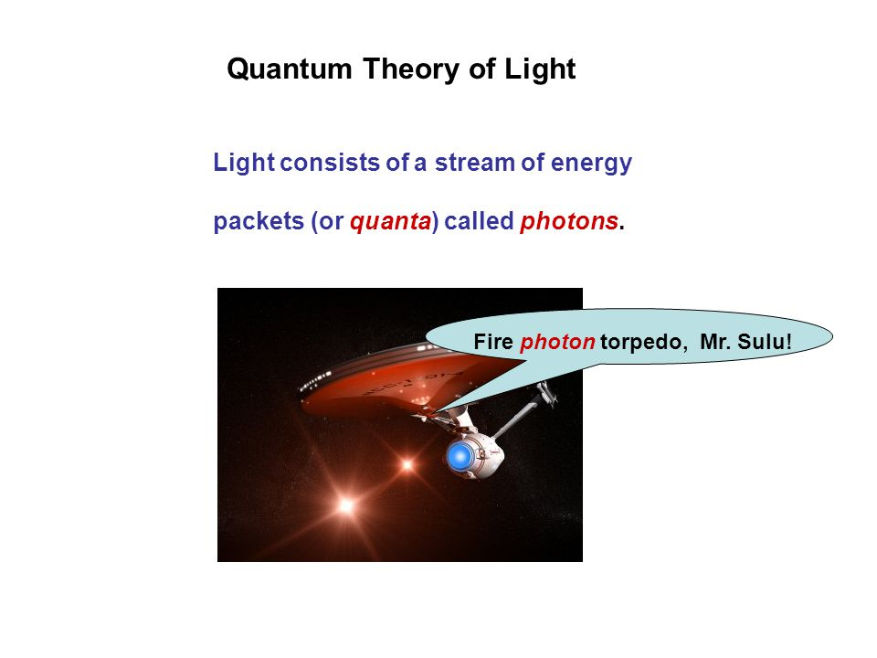 Quantum Theory of Light Light consists of a stream of energy packets (or quanta) called photons.