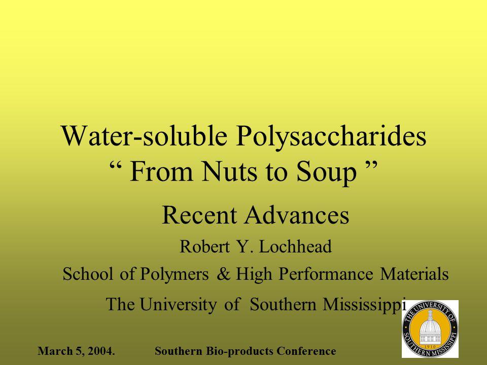March 5, 2004.Southern Bio-products Conference HYDROPHOBICALLY MODIFIED HYDROXYETHYL CELLULOSE Nishikawa, Yekta, Pham Winnik, & Sau; Langmuir, (Dec, 1998), 14, 7119,