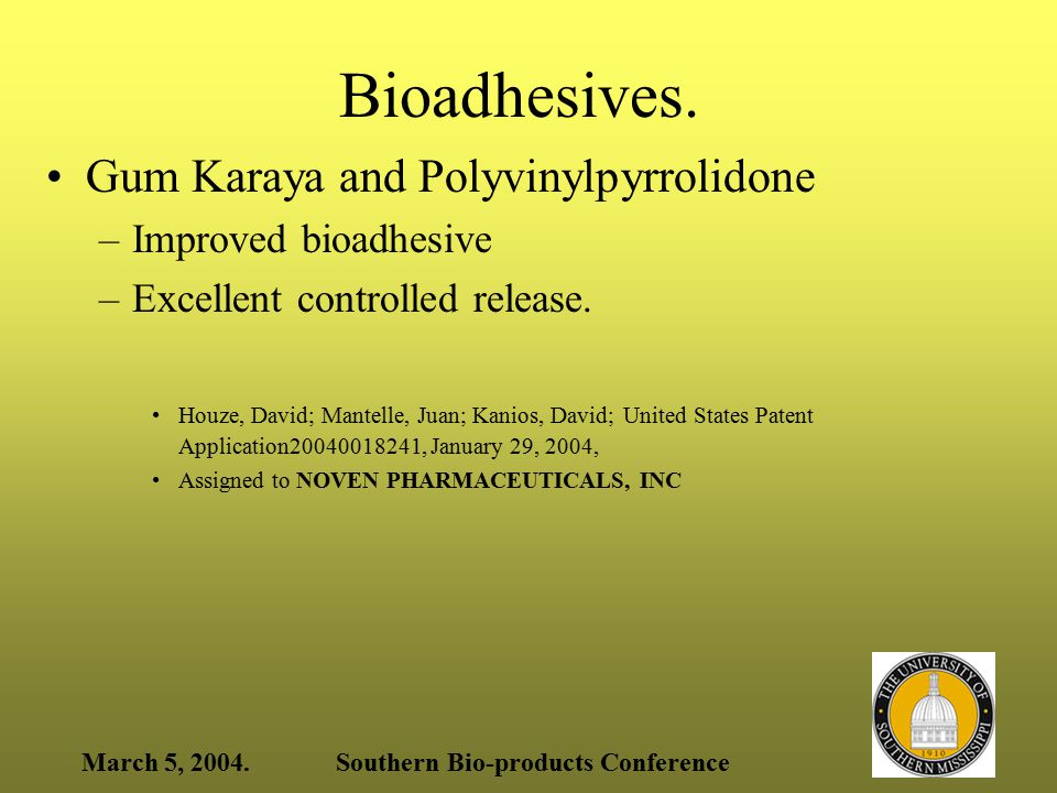 March 5, 2004.Southern Bio-products Conference Sulfated chitin and chitosan to deliver actives across mucosal membranes Sulphated chitinous polymer – a primary carrier delivers therapeutic agent across a membrane Kydonieus, Agis; Elson, Clive; Thanou, Maya; United States Patent Application20040038870, February 26, 2004