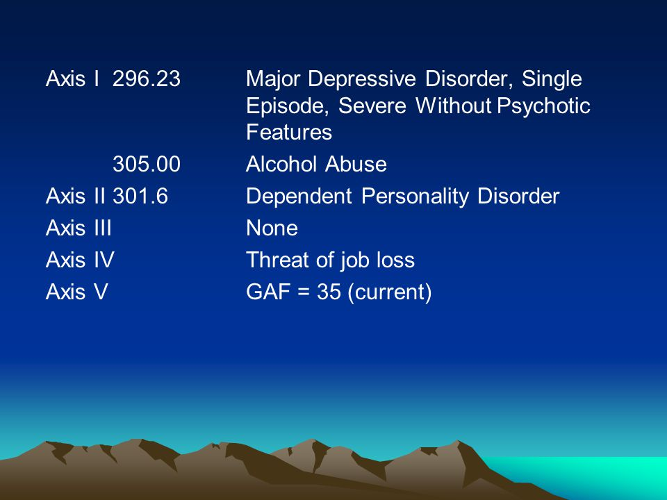 Axis I296.23Major Depressive Disorder, Single Episode, Severe Without Psychotic Features 305.00Alcohol Abuse Axis II301.6Dependent Personality Disorder Axis IIINone Axis IVThreat of job loss Axis VGAF = 35 (current)