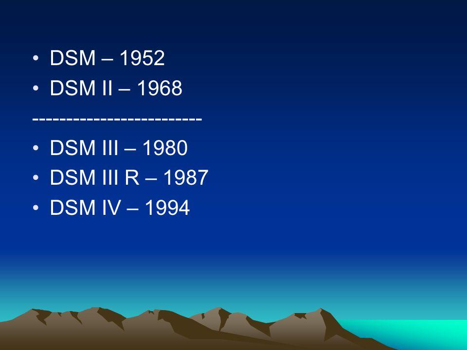 DSM – 1952 DSM II – 1968 ------------------------- DSM III – 1980 DSM III R – 1987 DSM IV – 1994