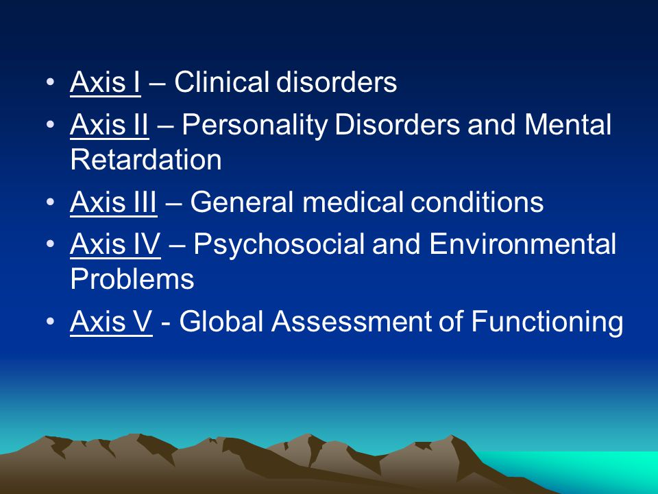 Axis I – Clinical disorders Axis II – Personality Disorders and Mental Retardation Axis III – General medical conditions Axis IV – Psychosocial and Environmental Problems Axis V - Global Assessment of Functioning