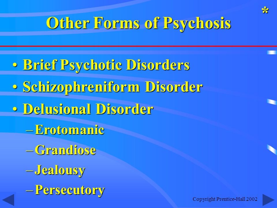 Copyright Prentice-Hall 2002 Brief Psychotic DisordersBrief Psychotic Disorders Schizophreniform DisorderSchizophreniform Disorder Delusional DisorderDelusional Disorder –Erotomanic –Grandiose –Jealousy –Persecutory * Other Forms of Psychosis
