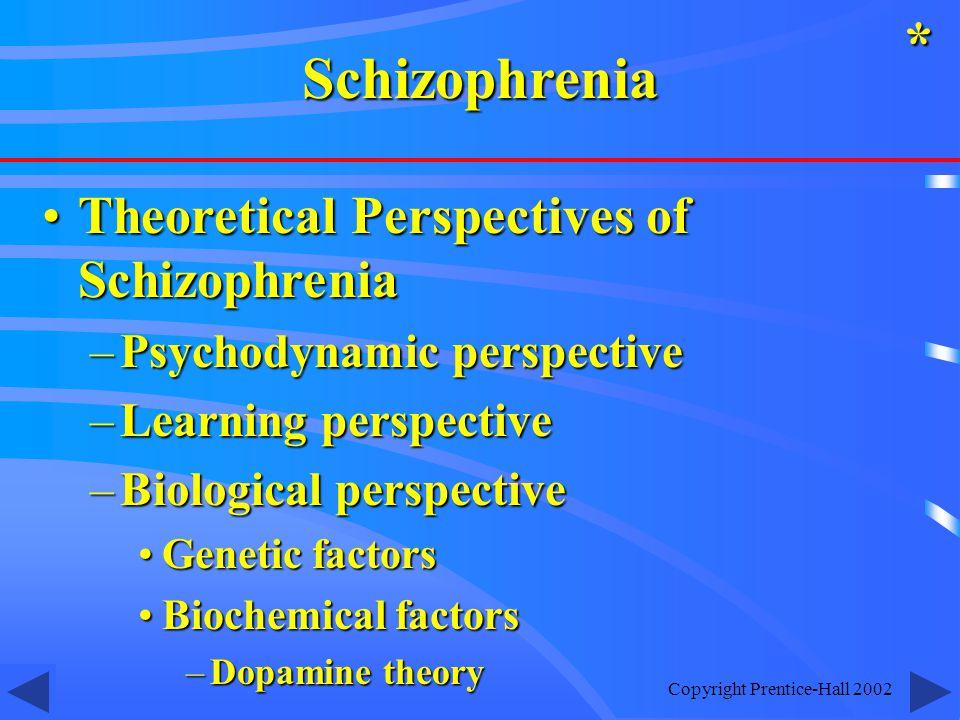 Copyright Prentice-Hall 2002 Theoretical Perspectives of SchizophreniaTheoretical Perspectives of Schizophrenia –Psychodynamic perspective –Learning perspective –Biological perspective Genetic factorsGenetic factors Biochemical factorsBiochemical factors –Dopamine theory *Schizophrenia
