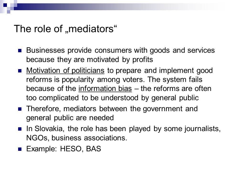 """The role of the national government and """"mediators Source: INEKO, 2004"""