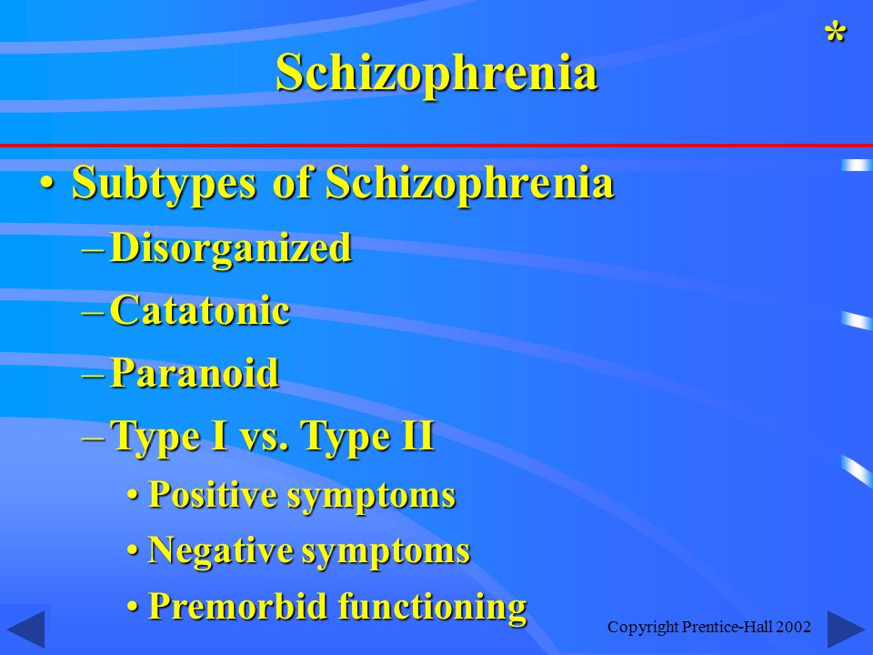 Copyright Prentice-Hall 2002 Subtypes of SchizophreniaSubtypes of Schizophrenia –Disorganized –Catatonic –Paranoid –Type I vs.