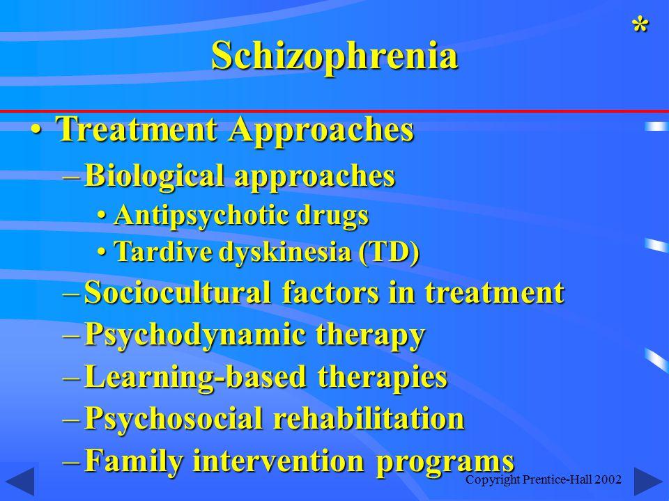 Copyright Prentice-Hall 2002 Treatment ApproachesTreatment Approaches –Biological approaches Antipsychotic drugsAntipsychotic drugs Tardive dyskinesia