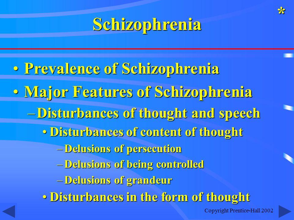 Copyright Prentice-Hall 2002 Prevalence of SchizophreniaPrevalence of Schizophrenia Major Features of SchizophreniaMajor Features of Schizophrenia –Di