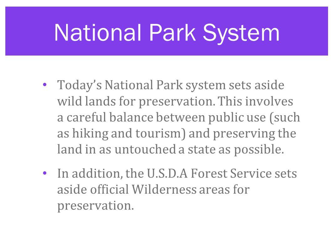 National Park System Today's National Park system sets aside wild lands for preservation.