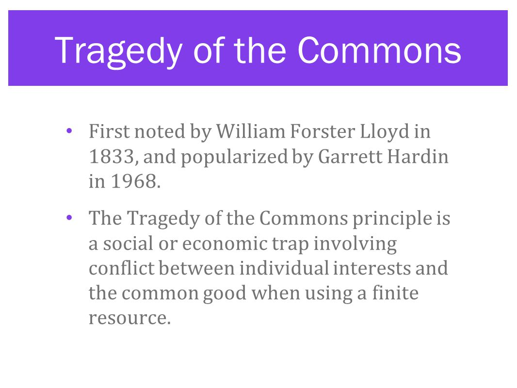 Tragedy of the Commons First noted by William Forster Lloyd in 1833, and popularized by Garrett Hardin in 1968.