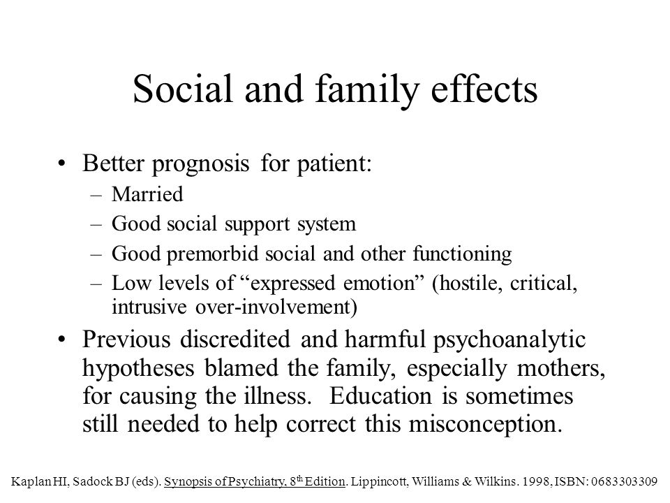 Social and family effects Better prognosis for patient: –Married –Good social support system –Good premorbid social and other functioning –Low levels of expressed emotion (hostile, critical, intrusive over-involvement) Previous discredited and harmful psychoanalytic hypotheses blamed the family, especially mothers, for causing the illness.