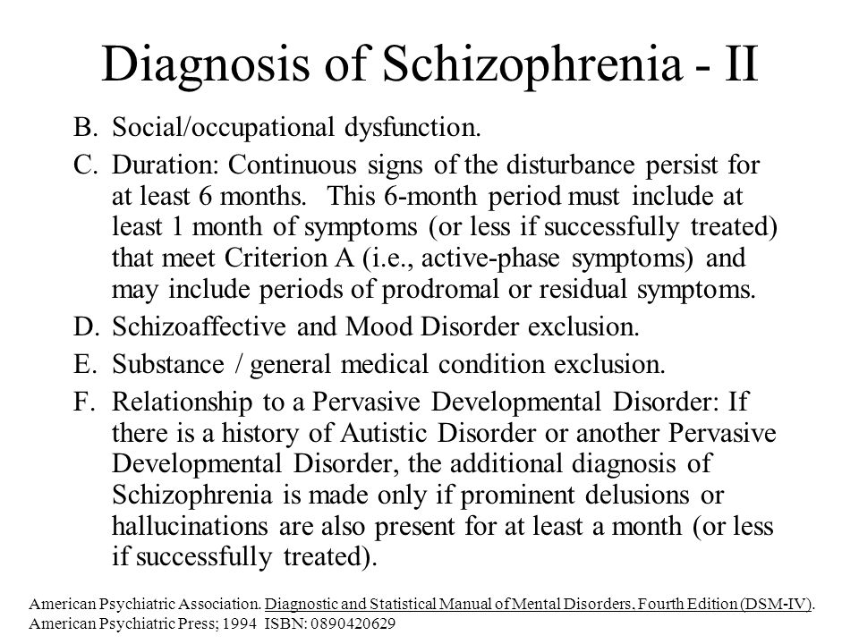 Diagnosis of Schizophrenia - II B.Social/occupational dysfunction.