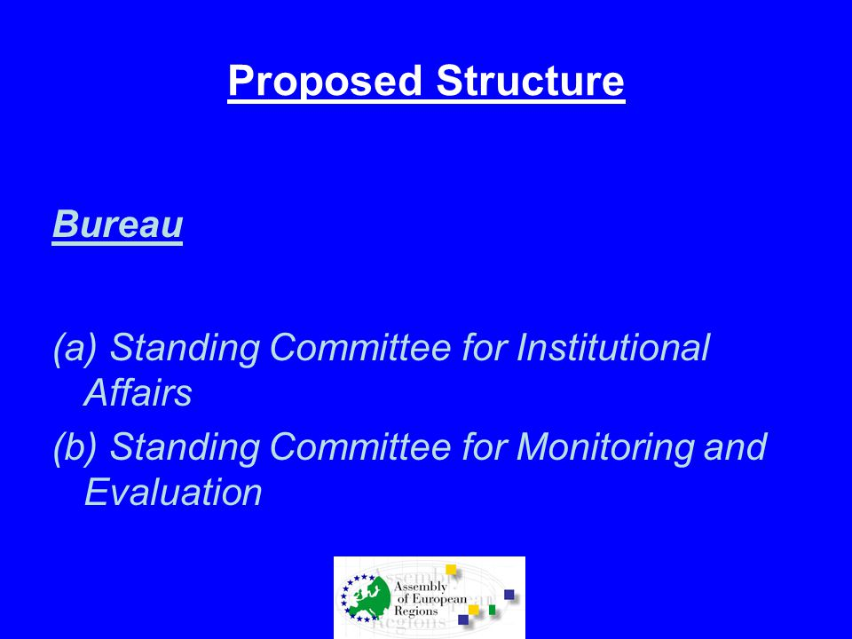 Proposed Structure Bureau (a) Standing Committee for Institutional Affairs (b) Standing Committee for Monitoring and Evaluation