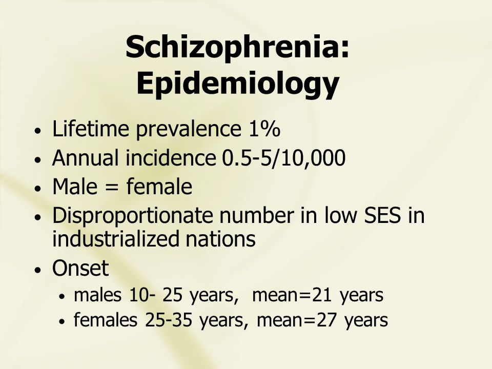 DSMIV Diagnosis of Schizophrenia A Criteria: two or more during a significant portion of one month (less if successfully treated) 1) delusions 2) hallucinations 3) disorganized speech 4) grossly disorganized or catatonic behavior 5) negative symptoms (affective flattening, alogia, avolition)