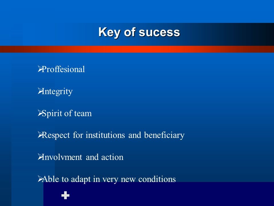 Key of sucess  Proffesional  Integrity  Spirit of team  Respect for institutions and beneficiary  Involvment and action  Able to adapt in very new conditions