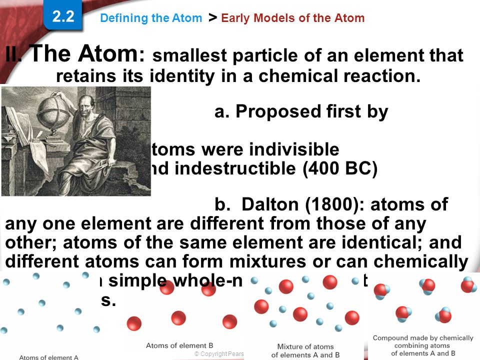 Slide 1 of 18 © Copyright Pearson Prentice Hall Defining the Atom > Early Models of the Atom II. The Atom : smallest particle of an element that retai