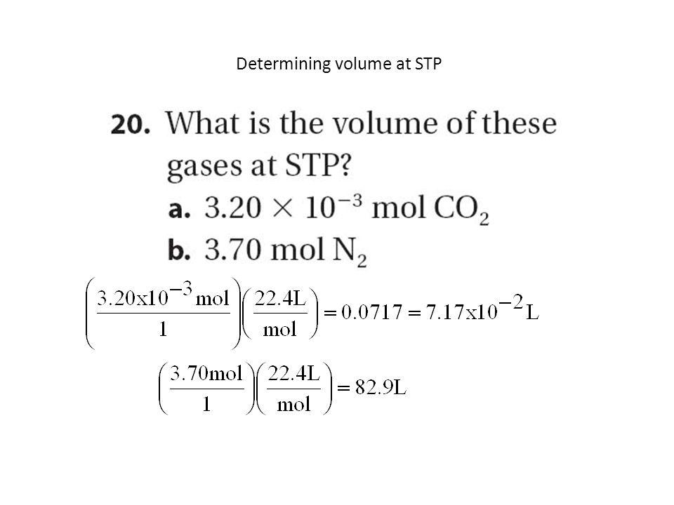Determining volume at STP