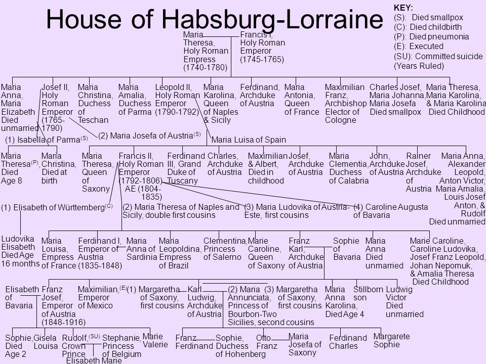House of Habsburg-Lorraine Otto Franz, Archduke of Austria Maria Josefa of Saxony Charles I, Emperor of Austria (1916-1918) [1918-1922] Maximilian Eugen, Archduke of Austria Zita of Bourbon- Parma Otto, Archduke of Austria [1922-2007] Adelheid, Archduchess of Austria Robert, Archduke of Austria- Este Felix, Archduke of Austria Karl Ludwig, Archduke of Austria Rudolf, Archduke of Austria Charlotte, Duchess of Mecklenburg Elisabeth, Princess of Liechtenstein Regina of Saxe- Meiningen & Hildburghausen AndreaMonikaMichaelaGabrielaWalbergaKarl, Prince Imperial [2007-] GeorgFrancesca Thyssen- Bornemisza Eleanore Jelena Ferdinand Zvonimir, Archduke Gloria Maria Eilika Helene of Oldenburg ZsófiaIldikóKaroly- Konstantin, Archduke KEY: (Years Ruled) [Years Claimed]
