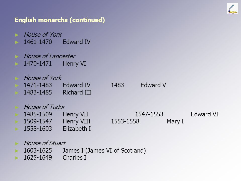 English monarchs (continued) ► ► Norman Kings ► ► 1066-1087William I 1087-1100William II (Rufus) ► ► (the Conqueror)1100-1135Henry I ► ► House of Bloi