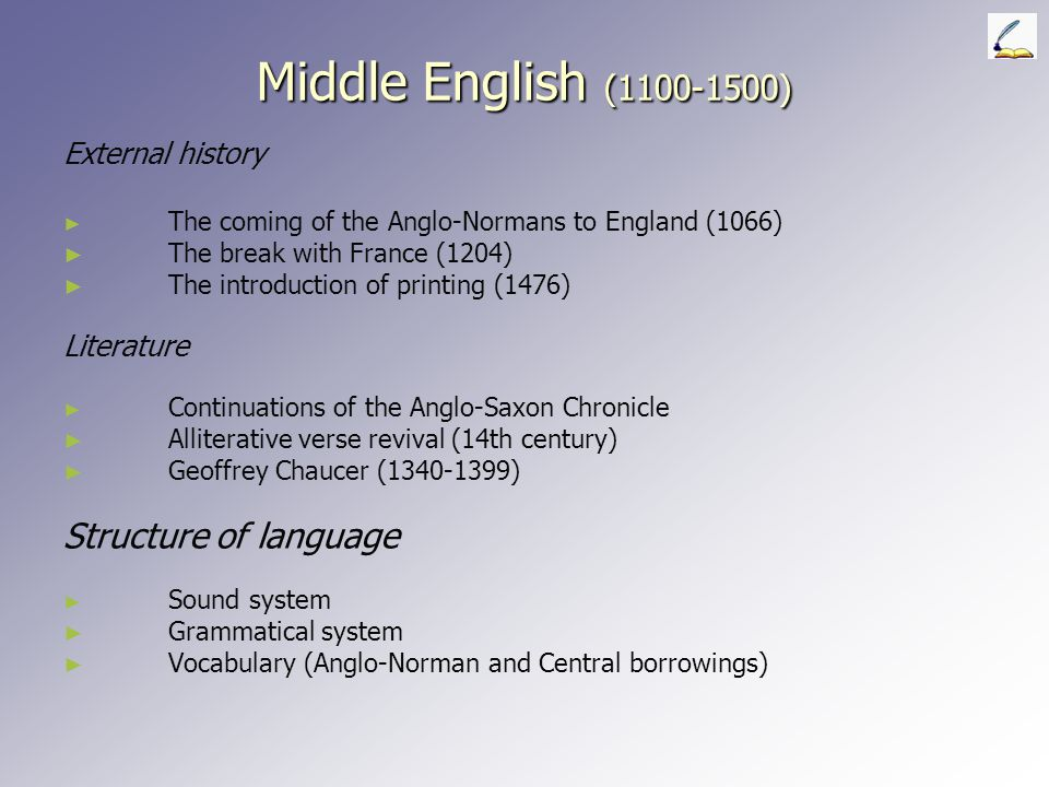 WEST MIDLAND This is the most conservative of the dialect areas in the Middle English period and is fairly well-documented in literary works.
