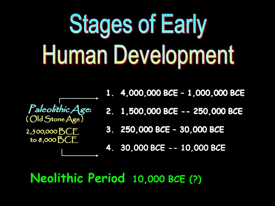 35 1. 4,000,000 BCE – 1,000,000 BCE 2. 1,500,000 BCE -- 250,000 BCE 3.