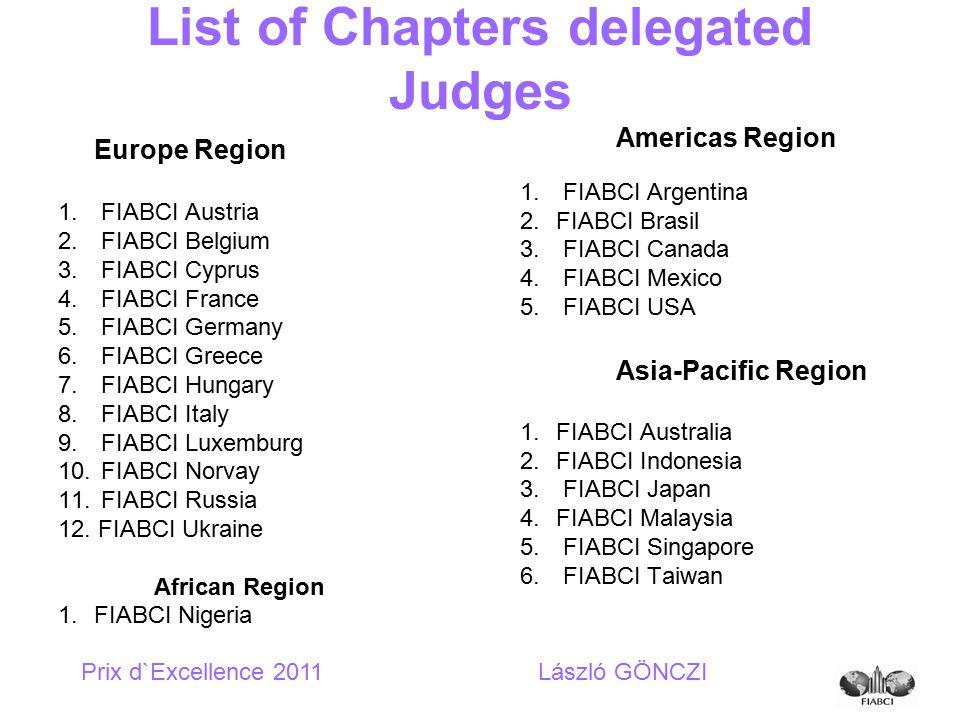 Europe Region 1. FIABCI Austria 2. FIABCI Belgium 3. FIABCI Cyprus 4. FIABCI France 5. FIABCI Germany 6. FIABCI Greece 7. FIABCI Hungary 8. FIABCI Ita