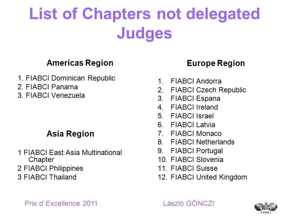 Americas Region 1. FIABCI Dominican Republic 2. FIABCI Panama 3. FIABCI Venezuela Asia Region 1 FIABCI East Asia Multinational Chapter 2 FIABCI Philip