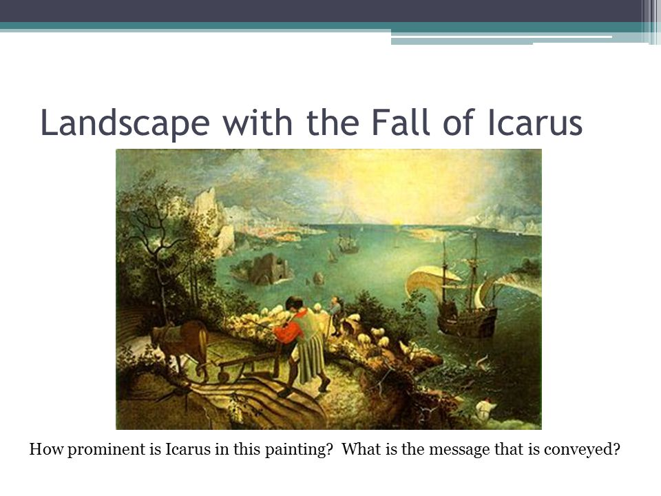 Landscape with the Fall of Icarus How prominent is Icarus in this painting.