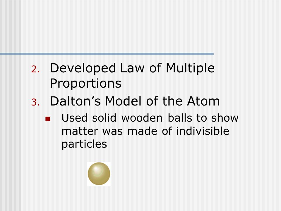 2. Developed Law of Multiple Proportions 3.