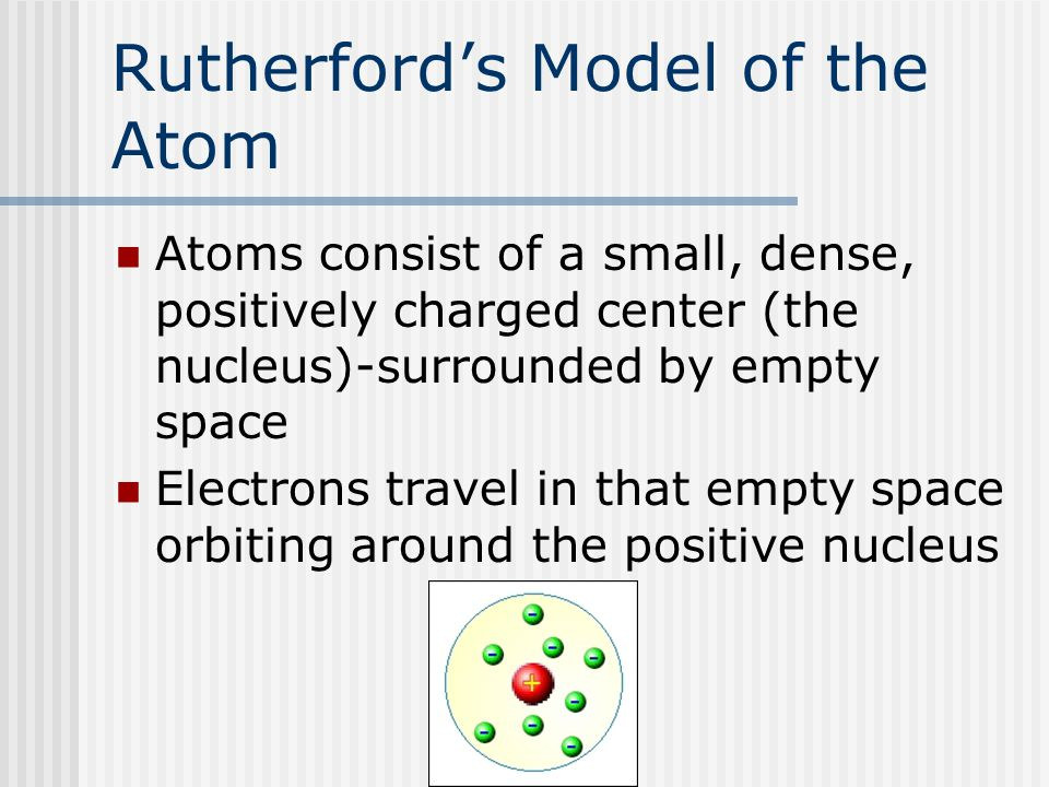 Rutherford's Model of the Atom Atoms consist of a small, dense, positively charged center (the nucleus)-surrounded by empty space Electrons travel in that empty space orbiting around the positive nucleus