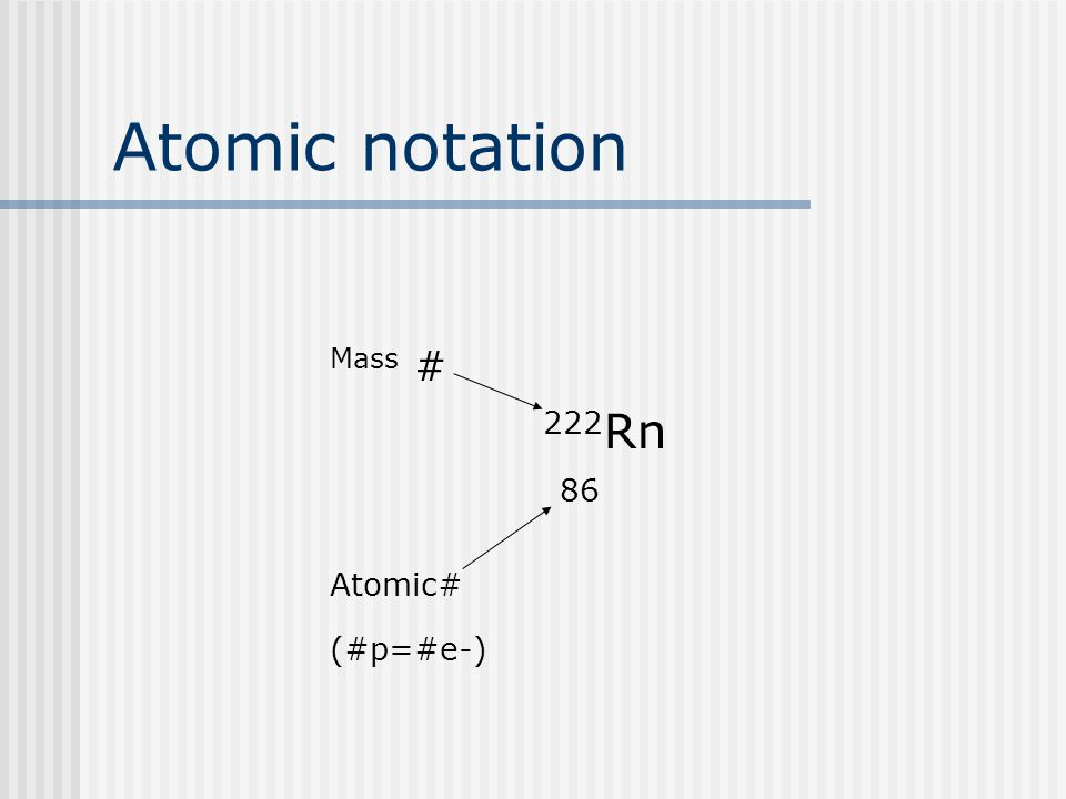 Atomic notation Mass # 222 Rn 86 Atomic# (#p=#e-)