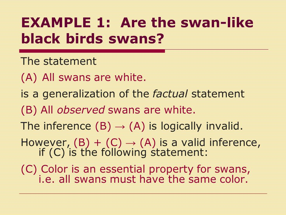 The resistance of strengthened generalizations to empirical revision The observation of a black swan-like bird cannot not lead to revision of the generalization (A) All swans are white.