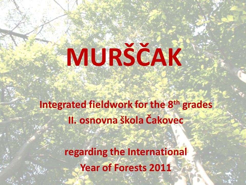 MURŠČAK Integrated fieldwork for the 8 th grades II.