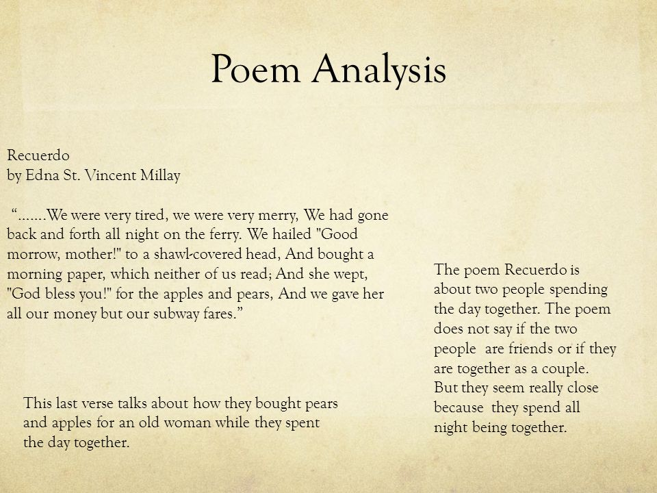 Poem Analysis Recuerdo by Edna St.